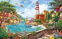 Lighthouse and Sailing Boat Seascape / Coastal Living Jigsaw Puzzle