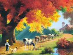 Close of the Day Cows Jigsaw Puzzle