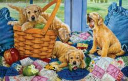 Puppies in a Basket Dogs Jigsaw Puzzle
