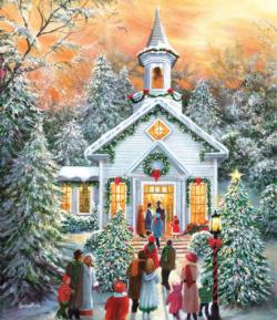 Silent Night Gathering Snow Jigsaw Puzzle
