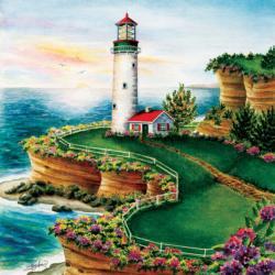 Lighthouse Sunset Seascape / Coastal Living Jigsaw Puzzle