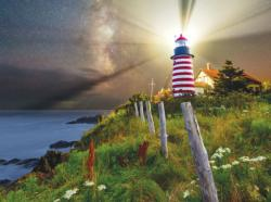 Night over West Quoddy Lighthouse Seascape / Coastal Living Jigsaw Puzzle