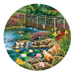 Field Cats Lakes / Rivers / Streams Round Jigsaw Puzzle