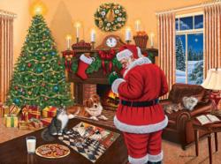 Santa Solves the Puzzle Domestic Scene Jigsaw Puzzle