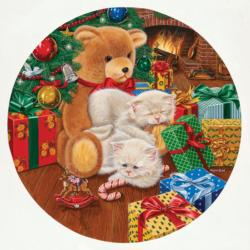 Waiting for Midnight Christmas Round Jigsaw Puzzle