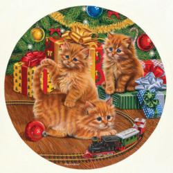 Around the Tree Kittens Round Jigsaw Puzzle