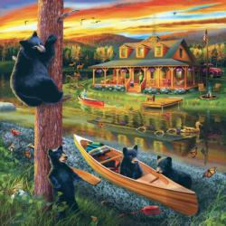 25 Bear Family Adventure Cottage / Cabin Jigsaw Puzzle