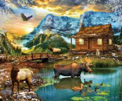 Winter Mountain Cabin Cottage / Cabin Jigsaw Puzzle