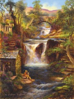 Waterfall Retreat Cottage/Cabin Jigsaw Puzzle