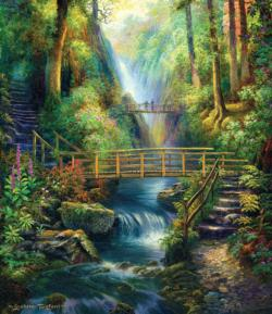 Forest Bridges Waterfalls Jigsaw Puzzle