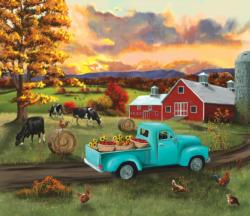 Fall Sunset at the Barn Vehicles Jigsaw Puzzle