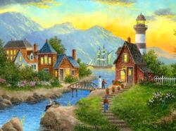 Bayside Afterglow Seascape / Coastal Living Jigsaw Puzzle
