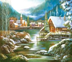 Snowy Harbor Lakes / Rivers / Streams Jigsaw Puzzle