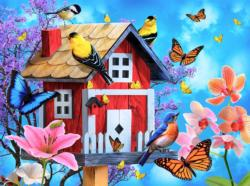 Red Birdhouse Butterflies and Insects Jigsaw Puzzle