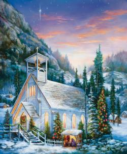 Yuletide Celebration Churches Jigsaw Puzzle