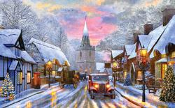 A Village Drive Christmas Jigsaw Puzzle