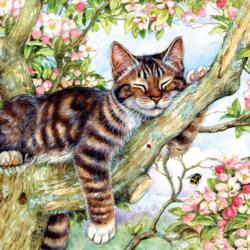 Sleepy Cat Flowers Jigsaw Puzzle