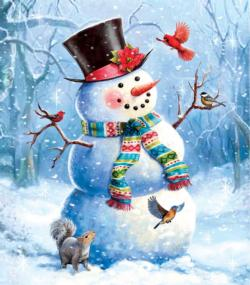 A Snowy Perch Snowman Jigsaw Puzzle