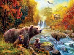 Bears at the Stream Nostalgic / Retro Jigsaw Puzzle