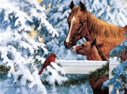 Fence Top Friends Winter Jigsaw Puzzle