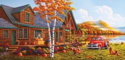 The Pleasures of Fall Cottage / Cabin Jigsaw Puzzle