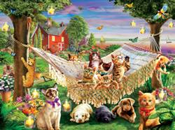 Kittens Puppies and Butterflies Dogs Jigsaw Puzzle