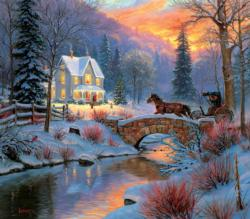 Over the Bridge Winter Jigsaw Puzzle
