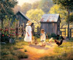 Doing our Chores Chickens & Roosters Jigsaw Puzzle