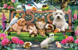 Park Bench Pals Flowers Jigsaw Puzzle