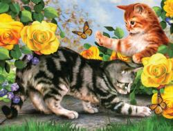 Kitten Play Flowers Jigsaw Puzzle