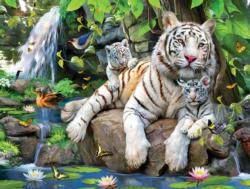White Tigers of Bengal Waterfalls Jigsaw Puzzle