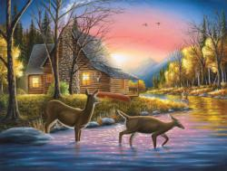 River's Crossing Cottage / Cabin Jigsaw Puzzle