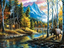 Peaceful Setting Cottage / Cabin Jigsaw Puzzle