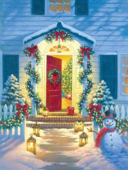 Christmas Porch Domestic Scene Jigsaw Puzzle