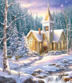 Winter Chapel Deer Jigsaw Puzzle