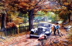 Old Depot Road Cars Jigsaw Puzzle