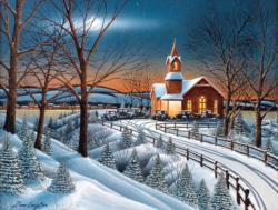 Winter Evening Service Churches Jigsaw Puzzle