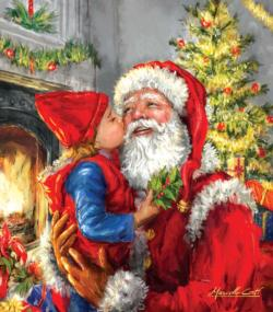 Kissing Santa Christmas Jigsaw Puzzle