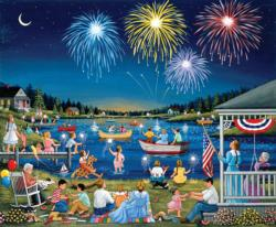 Lakeside on the Fourth of July People Jigsaw Puzzle