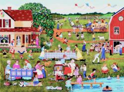 Annual Family Reunion Folk Art Jigsaw Puzzle