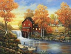 Sunset at the Old Mill Lakes / Rivers / Streams Jigsaw Puzzle