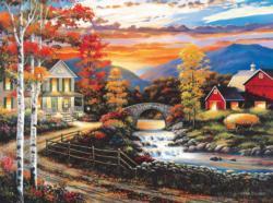 Babbling Creek Road Sunrise / Sunset Jigsaw Puzzle