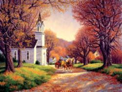 Road by the Church Churches Jigsaw Puzzle