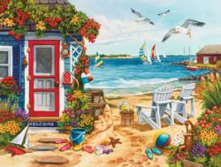 Beach Summer Cottage Seascape / Coastal Living Jigsaw Puzzle