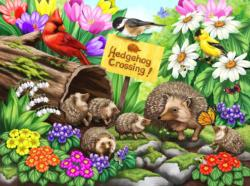 Hedgehog Crossing Flowers Jigsaw Puzzle