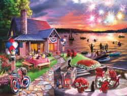 On the Lake on the Fourth Cottage / Cabin Jigsaw Puzzle