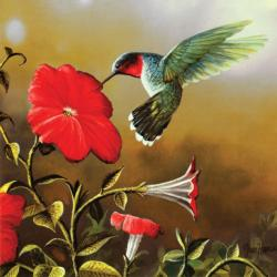 Ruby Throat Flowers Jigsaw Puzzle