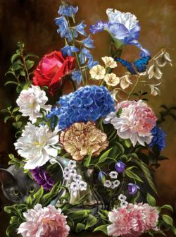 Bouquet in Blue Flowers Jigsaw Puzzle