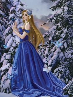 Blue Dress Snow Jigsaw Puzzle