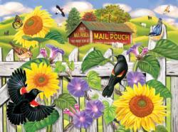 Sunflowers and Blackbirds Garden Jigsaw Puzzle